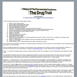 The Drug Trust - History of The Pharmaceutical Drug Business