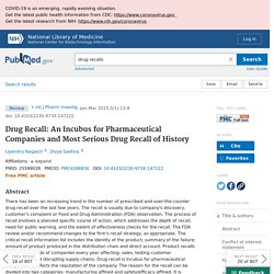 Drug Recall: An Incubus for Pharmaceutical Companies and Most Serious Drug Recall of History - PubMed