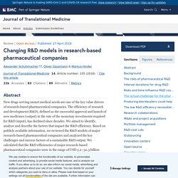 Changing R&D models in research-based pharmaceutical companies