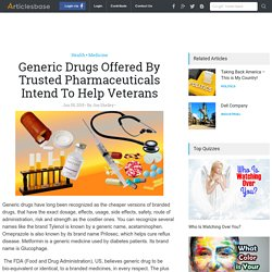 Generic Drugs Offered By Trusted Pharmaceuticals Intend To Help Veterans