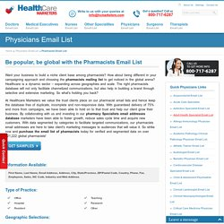Pharmacists Email List : Druggists Mailing Addresses : Chemists Database