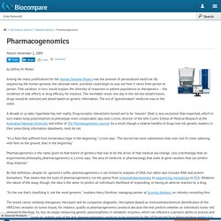About Pharmacogenomics By Julio Licinio