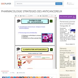 ⭐PHARMACOLOGIE STRATEGIES DES ANTICANCEREUX