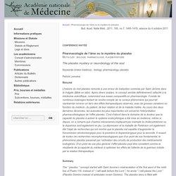 Pharmacologie de l'âme ou le mystère du placebo