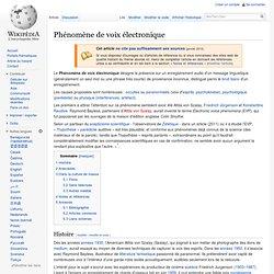 Phénomène de voix électronique SITE Wikipedia
