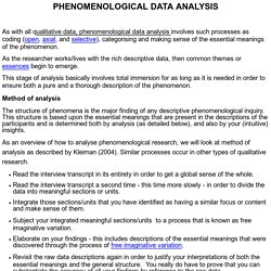 PHENOMENOLOGICAL DATA ANALYSIS