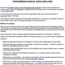 PHENOMENOLOGICAL DATA ANALYSIS