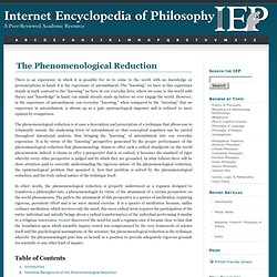 Phenomenological Reduction, The