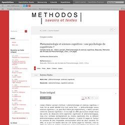 Phénoménologie et sciences cognitives: une psychologie du cognitiviste?