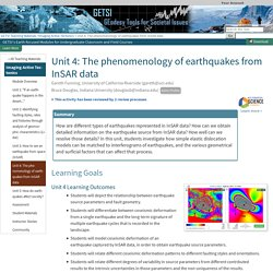 Unit 4: The phenomenology of earthquakes from InSAR data