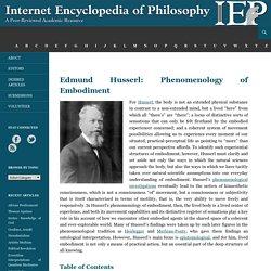 Husserl, Edmund: Phenomenology of Embodiment