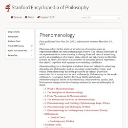 Phenomenology (Stanford Encyclopedia of Philosophy)