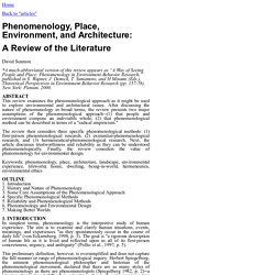 A Way of Seeing People and Place: Phenomenology in Enviornment-Behavior Research