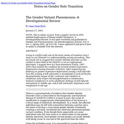 The Gender Variant Phenomenon: A Developmental Review