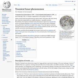 Transient lunar phenomenon