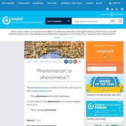 'Phenomenon' or 'phenomena'?