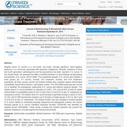 Energy Treatment and Shigella Sonnei Characteristics