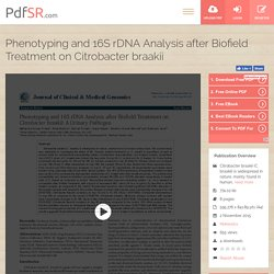 Phenotyping and 16S rDNA Analysis after Biofield Treatment on Citrobacter braakii