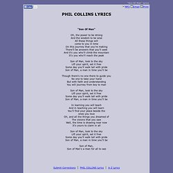 PHIL COLLINS LYRICS - Son Of Man