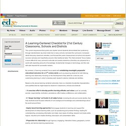 A Learning-Centered Checklist for 21st Century Classrooms, Schools and Districts - Philadelphia, PA