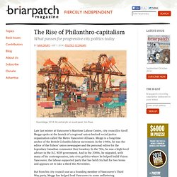 The Rise of Philanthro-capitalism
