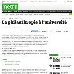 Métro Montréal - La philanthropie à l'université
