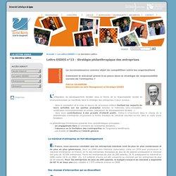 Lettre ESDES n°13 - Stratégie philanthropique des entreprises - ESDES - Ecole de management- Université Catholique de Lyon