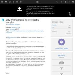 BBC Philharmonia free orchestral samples : philharmonia orchestra