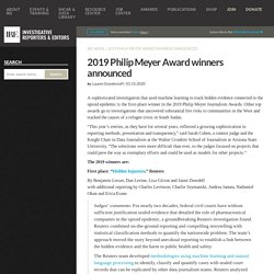 2019 Philip Meyer Award winners announced
