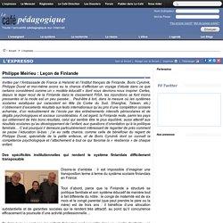 Philippe Meirieu : Leçon de Finlande
