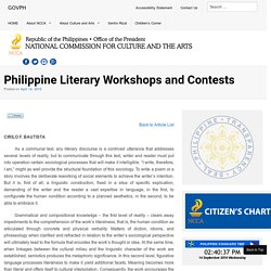 Philippine Literary Workshops and Contests - National Commission for Culture and the Arts