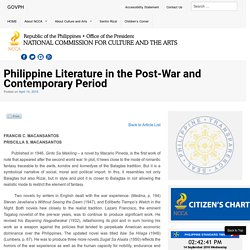 Philippine Literature in the Post-War and Contemporary Period - National Commission for Culture and the Arts
