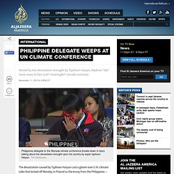 Philippine delegate weeps at UN climate conference