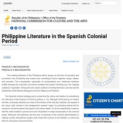 Philippine Literature in the Spanish Colonial Period - National Commission for Culture and the Arts