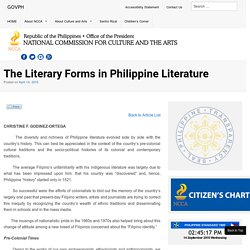 The Literary Forms in Philippine Literature - National Commission for Culture and the Arts