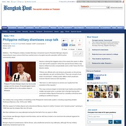 Philippine military dismisses coup talk