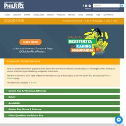 PHILIPPINE RICE RESEARCH INSTITUTE - 2020 - Golden Rice - Frequently Asked Questions