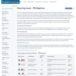 Housing Loan - Bank Interest Rates, Philippines