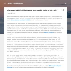 What makes MBBS in Philippines the Most Feasible Option for 2019-20 ?
