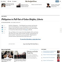 Philippines to Pull Out of Golan Heights, Liberia