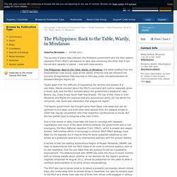 The Philippines: Back to the Table, Warily, in Mindanao