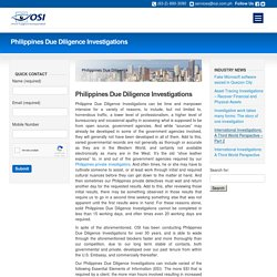 Philippines Due Diligence Investigations - OSI