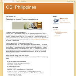 OSI Philippines: Detectives in Missing Persons Investigations