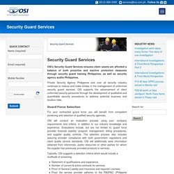 Philippines Security Guard Training Services