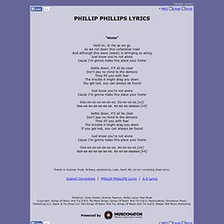 PHILLIP PHILLIPS LYRICS - Home