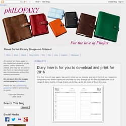 Philofaxy: Diary Inserts for you to download and print for 2016