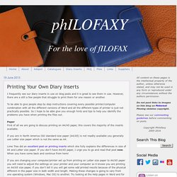 Philofaxy: Printing Your Own Diary Inserts