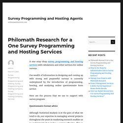 Philomath Research for a One Survey Programming and Hosting Services