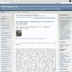 Philophore » Archives du Blog » DES SOURCES DE LA CONNAISSANCE ET DE L'IGNORANCE (Karl Popper-1960)