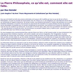 LA PIERRE PHILOSOPHALE DANS L'ALCHIMIE SPIRITUELLE
